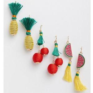 NWT Torrid fruit tassel fringe earring set of 3